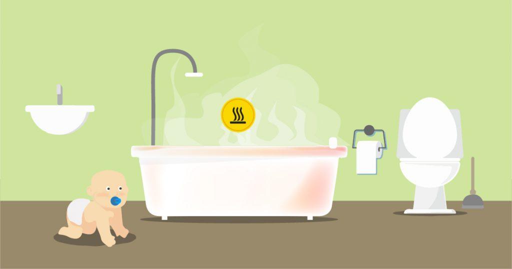 non lasciare bambini da soli in bagno