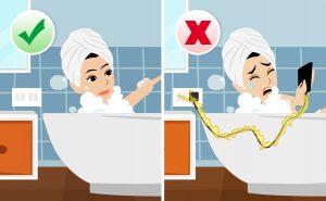 Prevenire lesioni da elettricità: Evitare l'uso di apparecchi elettrici nella doccia o nella vasca da bagno